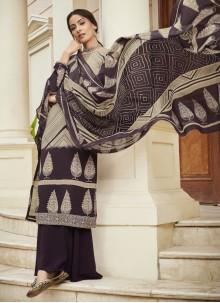 Designer Palazzo Suit Embroidered Faux Crepe in Multi Colour