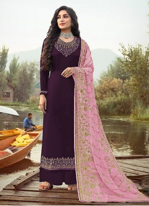Designer Palazzo Suit Embroidered Faux Georgette in Purple
