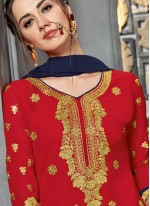 Designer Palazzo Suit Embroidered Faux Georgette in Red