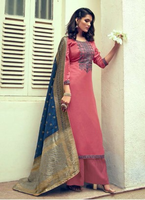Designer Palazzo Suit Embroidered Silk in Pink