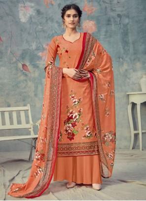 Orange Designer Palazzo Suit For Ceremonial