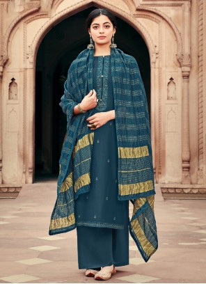 Blue Designer Palazzo Suit For Ceremonial