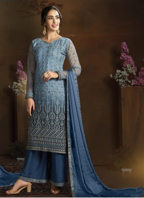Blue Designer Palazzo Suit For Festival