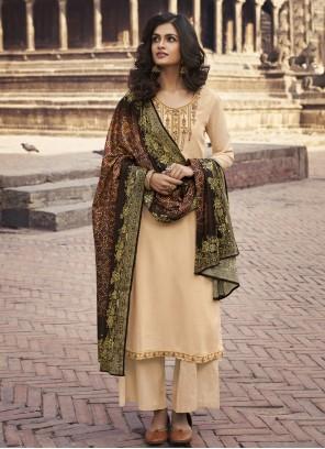 Cream Designer Palazzo Suit For Festival
