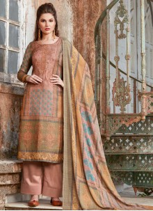 Peach Designer Palazzo Suit For Party