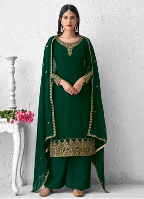Green Designer Palazzo Suit For Sangeet