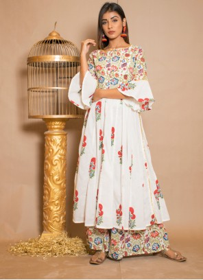 Designer Palazzo Suit Printed Cotton in Off White