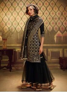 Designer Palazzo Suit Sequins Net in Black