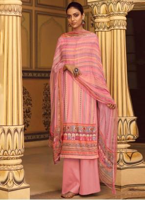 Designer Palazzo Suit Stripe Print Pashmina in Pink