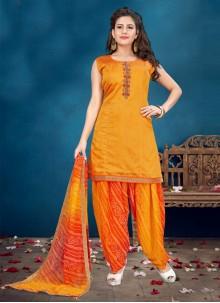 Designer Patiala Salwar Kameez Handwork Chanderi in Orange