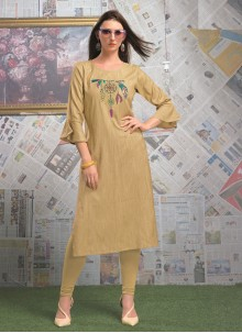 Designer Rayon Party Wear Kurti in Cream