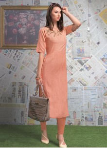 Designer Rayon Party Wear Kurti in Peach