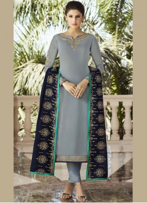 Designer Salwar Kameez Diamond Georgette Satin in Grey