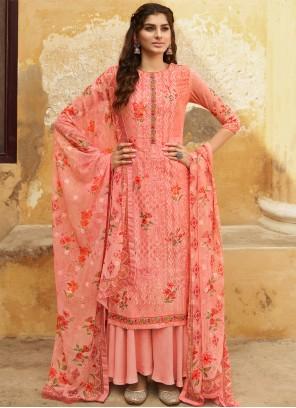 Designer Salwar Kameez Embroidered Georgette in Pink