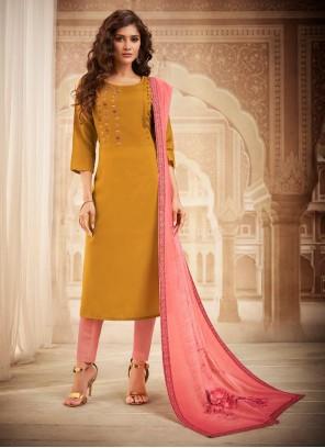 Designer Salwar Kameez Embroidered Maslin Silk in Mustard