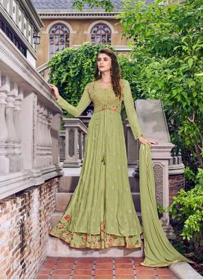 Designer Salwar Kameez Embroidered Muslin in Green