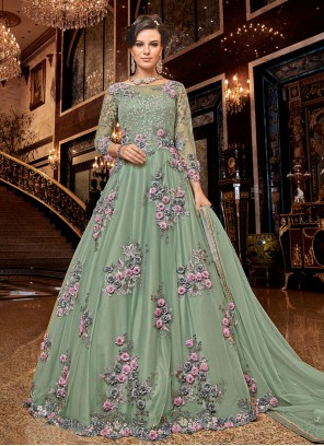Designer Salwar Kameez Embroidered Net in Green