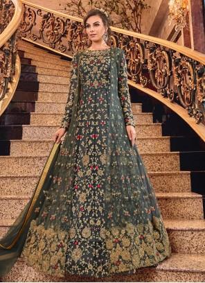 Designer Salwar Kameez Embroidered Net in Grey