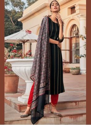 Designer Salwar Kameez Embroidered Rayon in Black