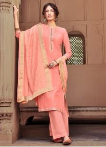 Designer Salwar Kameez Embroidered Viscose in Peach