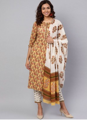Designer Salwar Kameez Printed Cotton in Mustard