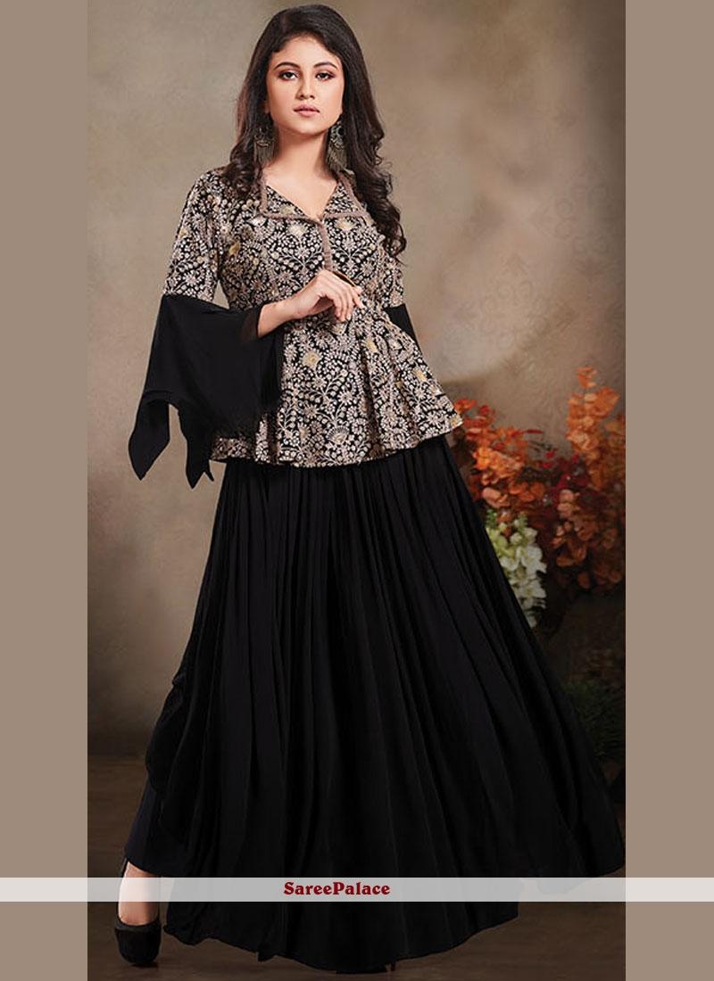 Designer Salwar Suit Embroidered Net In Black