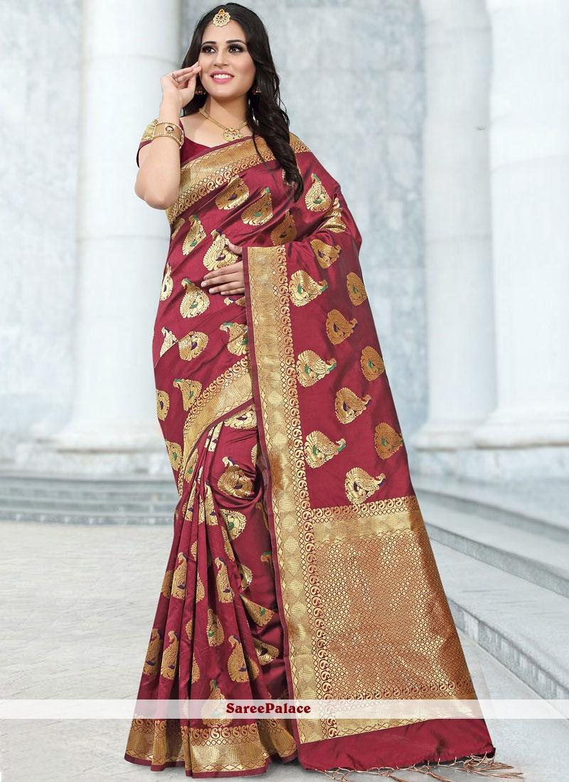 Designer Saree Abstract Print Banarasi Silk in Maroon
