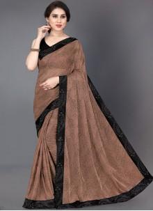 Designer Saree Border Lycra in Brown