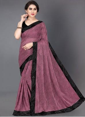 Designer Saree Border Lycra in Pink