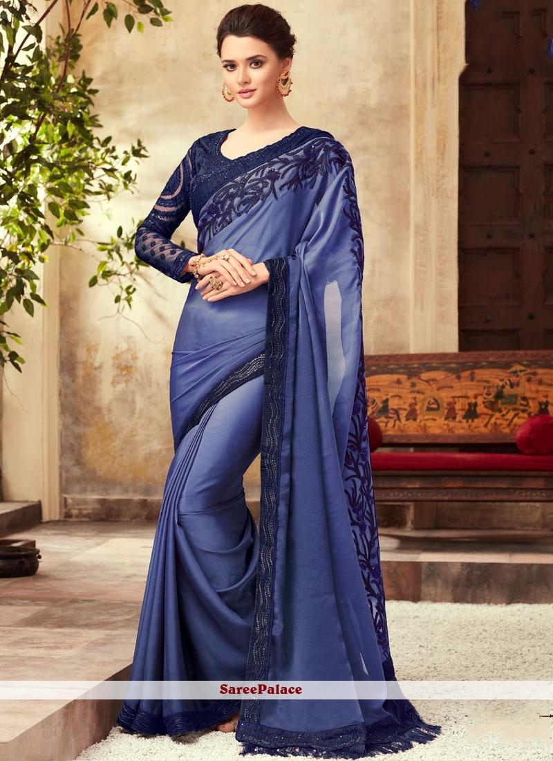 Designer Saree Border Silk in Blue