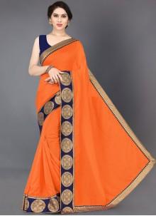 Designer Saree Border Silk in Orange