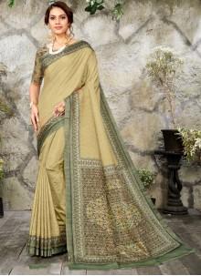Designer Saree Digital Print Silk in Green