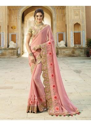 Designer Saree Embroidered Bamber Georgette  in Pink