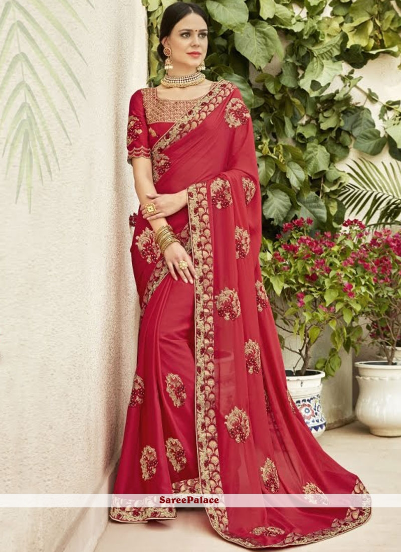 c0ee27f5530 Buy Designer Saree Embroidered Chanderi in Rose Pink Online