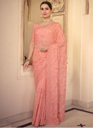 Designer Saree Embroidered Faux Chiffon in Peach