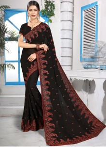 Designer Saree Embroidered Georgette in Black
