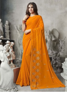 Designer Saree Embroidered Georgette in Mustard