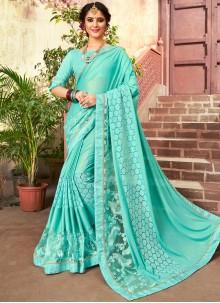 Designer Saree Embroidered Lycra in Turquoise