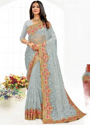 Designer Saree Embroidered Net in Grey