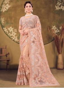 Designer Saree Embroidered Net in Peach