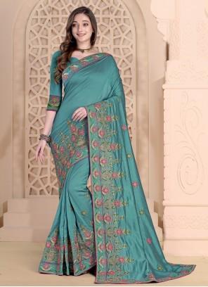 Designer Saree Embroidered Silk in Aqua Blue