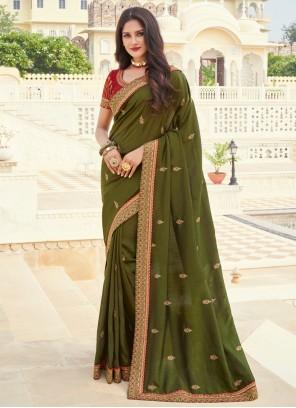 Designer Saree Embroidered Silk in Green