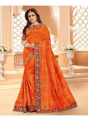 Designer Saree Embroidered Silk in Orange