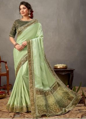 Designer Saree Embroidered Tussar Silk in Green