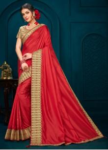 Designer Red Saree For Ceremonial