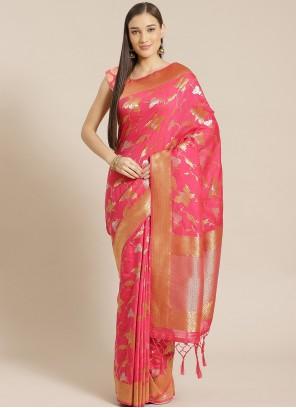 Pink Designer Saree For Ceremonial