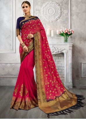 Hot Pink Designer Saree For Ceremonial