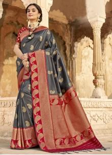Grey Banarasi Silk Designer Saree For Ceremonial