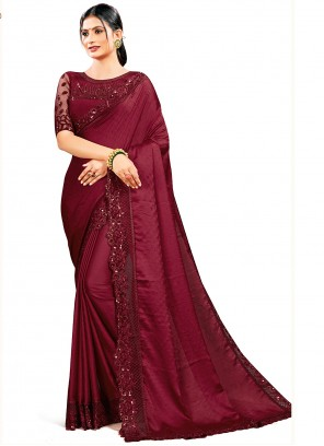 Maroon Patch Border Satin Silk Designer Saree For Ceremonial
