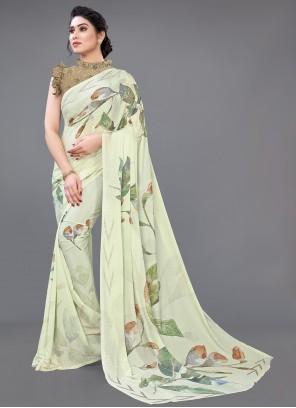 Green Digital Printed Designer Saree For Ceremonial